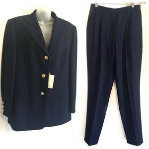 Vintage 1990s ESCADA Suit Navy Rose Gold Pinstripe